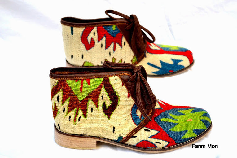 EU 40 US 9.5 Woman kilim booty, leather ankle boots, vintage, booties, slippers, shoes, oxfords, ethnic, bohemian, Nomads, footwear