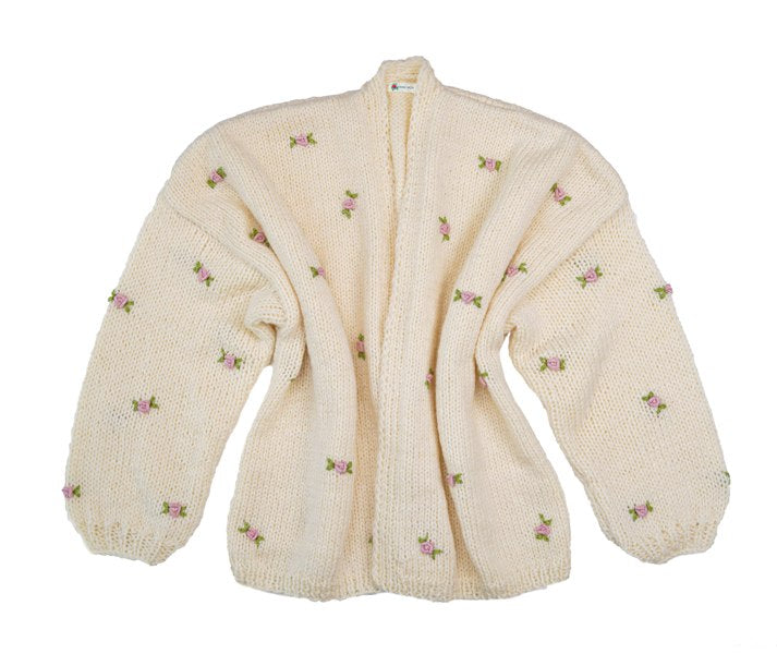 Fanm Mon WINTER BLOOM Toddlers 100% Wool Winter/Autumn Cardigan with Pink Green Embroidery Size 2T
