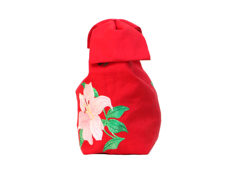 Fanm Mon Freda Red Pink Lilly Embroidered Linen Handbag