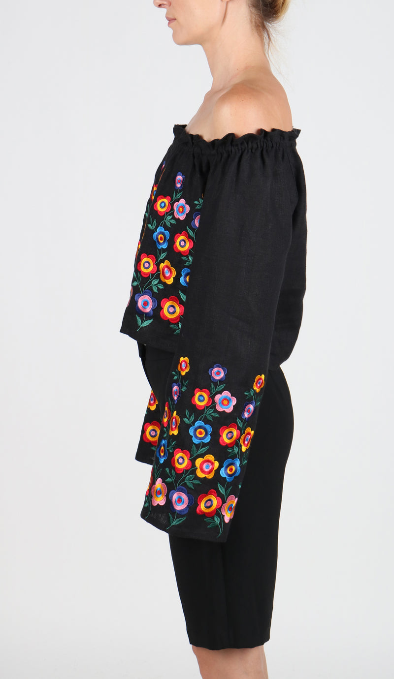 Fanm Mon Summer Black Crop Off-Shoulder Blouse Flowers Vyshyvanka Linen Embroidery BLO011A5