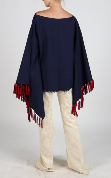 Fanm Mon PONCHO Navy Linen Red Embroidered Vyshyvanka Top Pacho