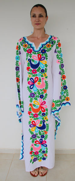 Fanm Mon Ari Multi-Color Embroidery White Cotton Maxi Dress Blue Shell.