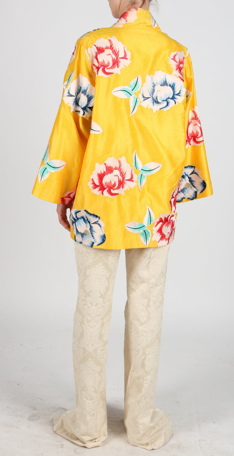 Fanm Mon JAUNE Vyshyvanka Jacket Dress Embroidered Yellow Multi Floral Color Coat