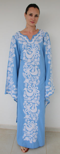 Fanm Mon White Silk Embroidery blue Linen Maxi Dress White Shell.