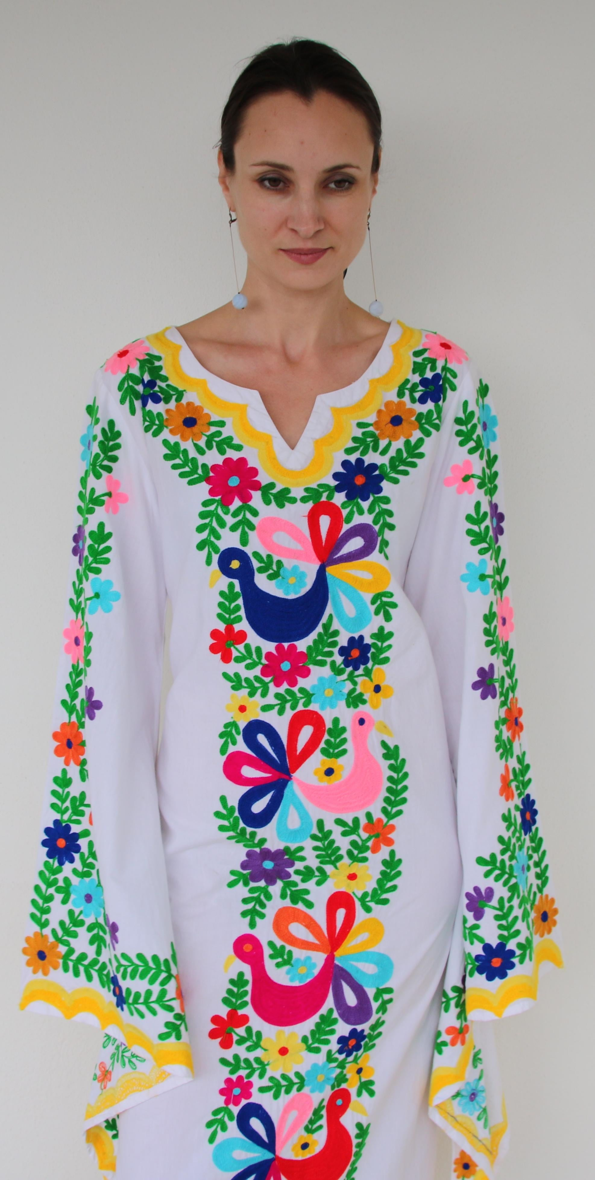 Fanm Mon White Cotton Dress Multi Color Ari Cotton Embroidery Yellow Kaftan Shell Long