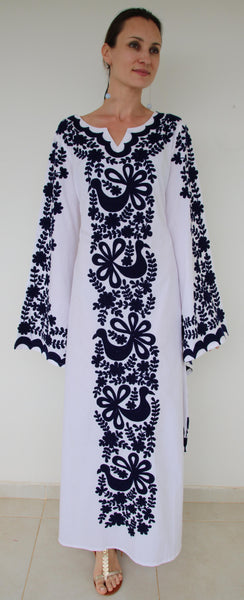 Fanm Mon Navy Silk Embroidery White Linen Maxi Dress Navy Shell.