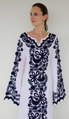 Fanm Mon Navy Silk Embroidery White Linen Maxi Dress Navy Shell