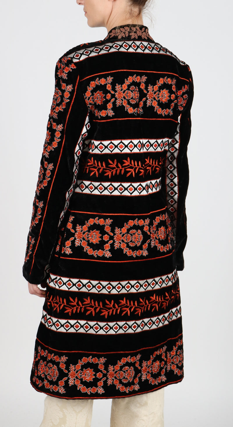 Fanm Mon COPRE Vyshyvanka Black Velvet Copper Jacket Embroidered Long Jacket