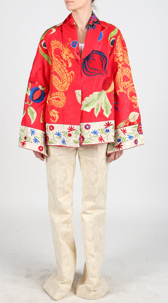 Fanm Mon JAGGON Vyshyvanka Red Silk Jacket Dress Embroidered Multi Floral Color Jacket