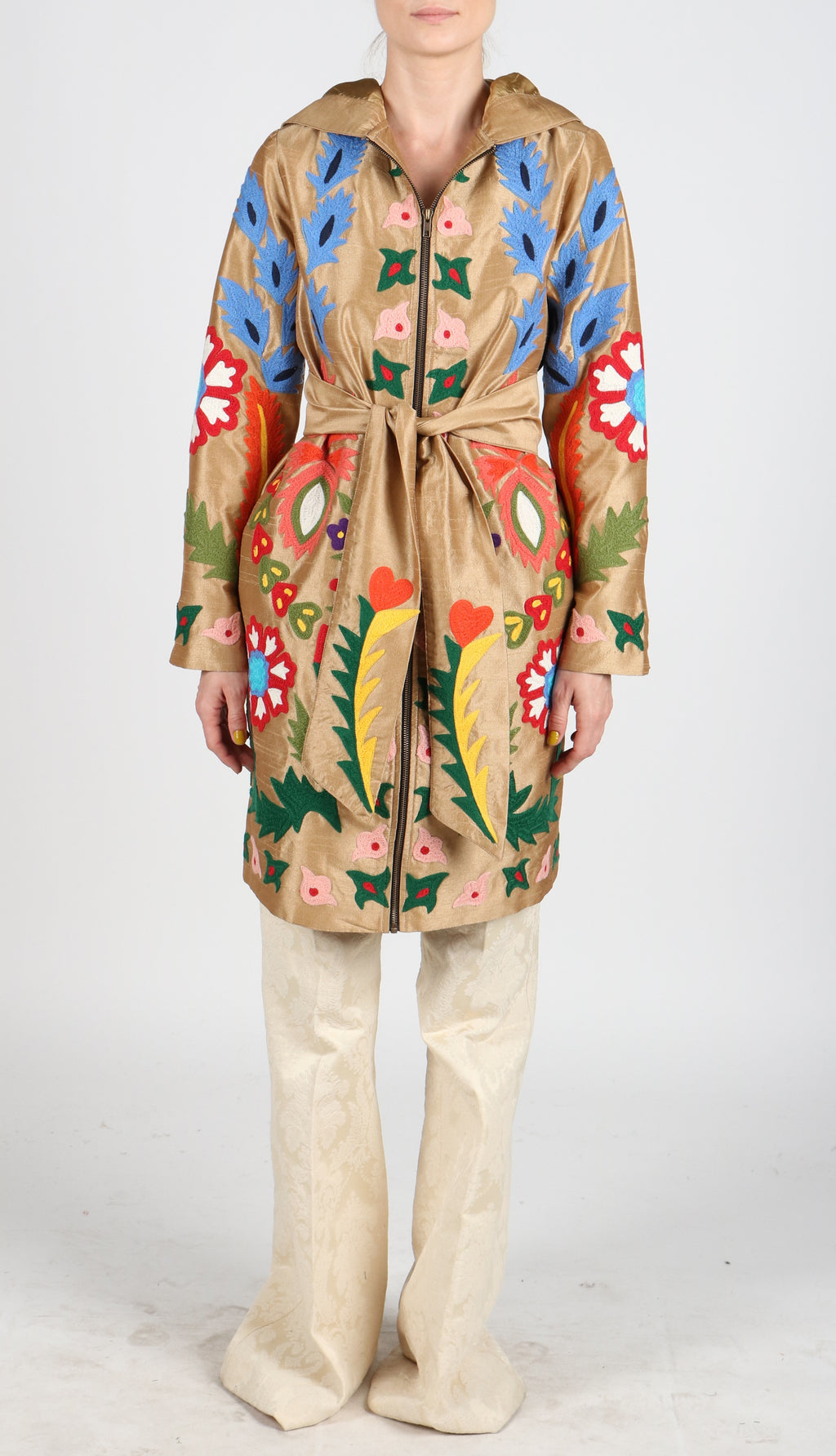 Fanm Mon LORES Vyshyvanka Hoodie Embroidered Brown Coat Multi Floral Embroidery Silk Jacket