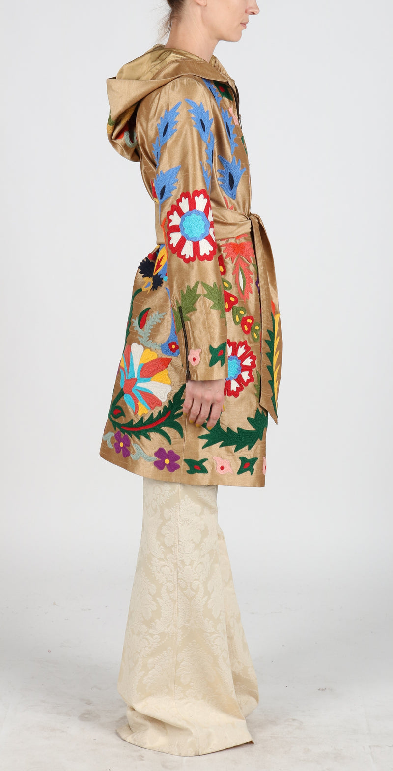 Fanm Mon LORES Vyshyvanka Hoodie Embroidered Brown Coat Multi Floral Embroidery Silk Jacket SIZE SMALL