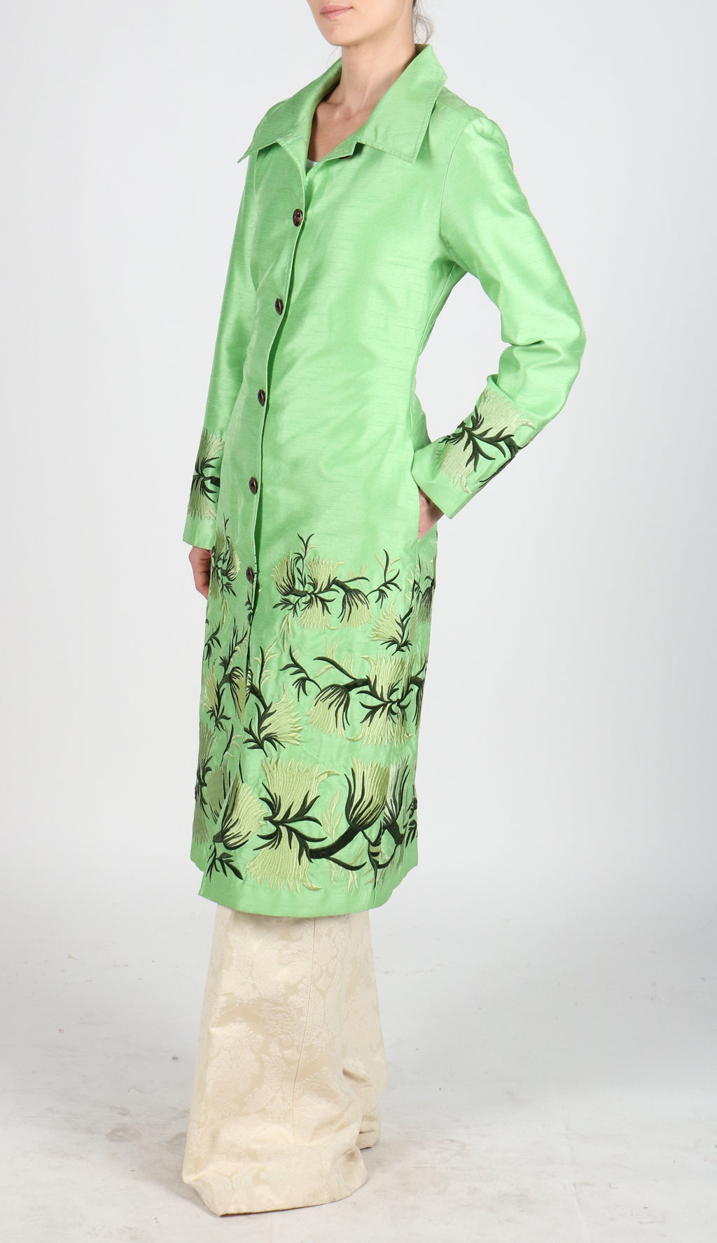 Fanm Mon VENIA Vyshyvanka Silk Jacket Embroidered Green Black Lime Floral Color Jacket