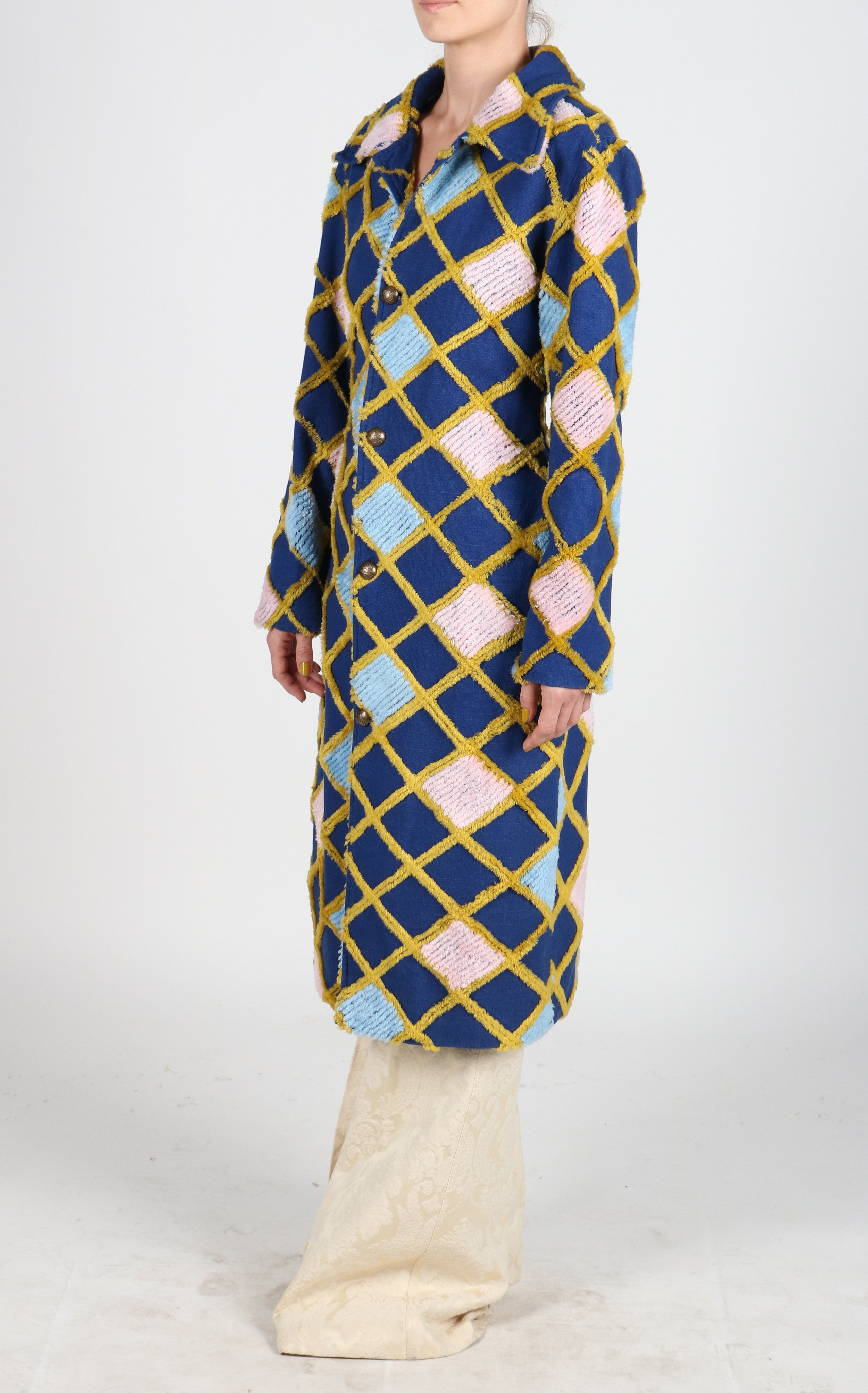 Fanm Mon KARRE Vyshyvanka Navy Pink Blue Gold Embroidered Stylish Coat