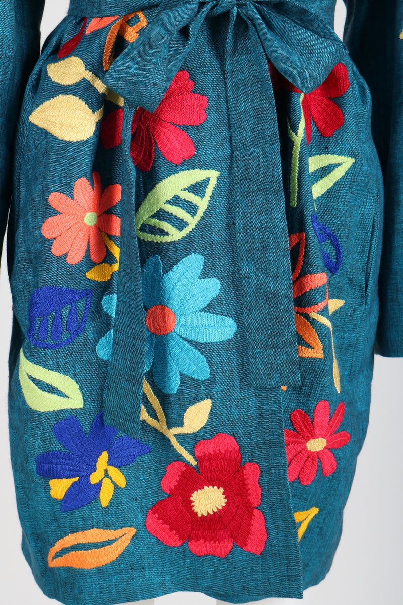 Fanm Mon Vyshyvanka TIOLI Linen Jacket HAND Embroidered MULTI COLOR Floral Jacket SIZE S/M