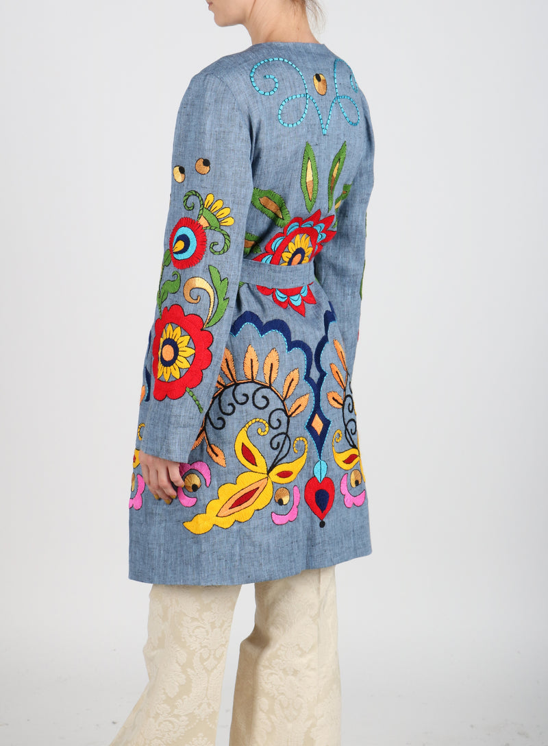 Fanm Mon Vyshyvanka PARSHA Linen Jacket HAND Embroidered MULTI COLOR Floral Jacket SIZE S/M