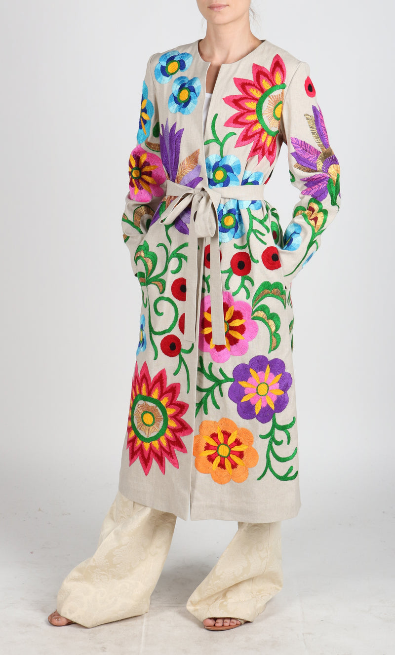 Fanm Mon Vyshyvanka Linen Jacket HAND Embroidered MULTI COLOR Floral Jacket SIZE S/M