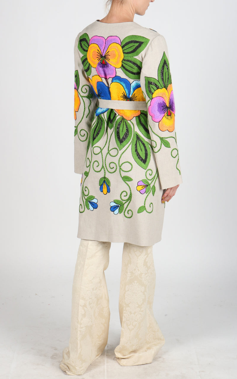 Fanm Mon LANBOA Vyshyvanka Linen Jacket HAND Embroidered MULTI COLOR Floral Jacket SIZE S/M