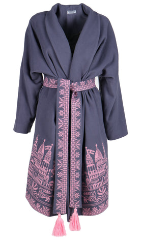 8f4f807f3a0 Fanm Mon STEEL Vyshyvanka Dark Gray Wool Pink Embroidered City Life Theme  Coat