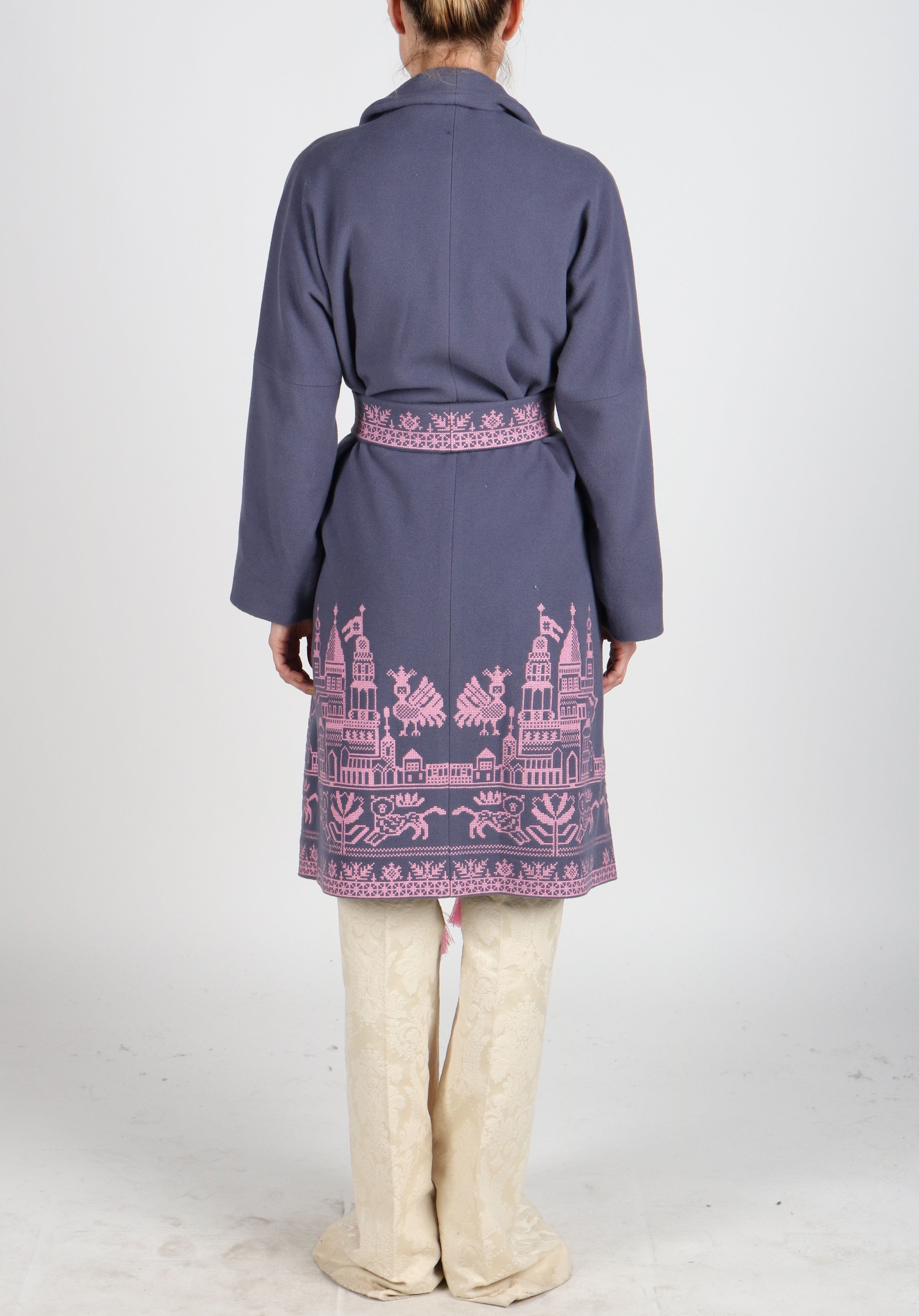 Fanm Mon STEEL Vyshyvanka Dark Gray Wool Pink Embroidered City Life Theme Coat