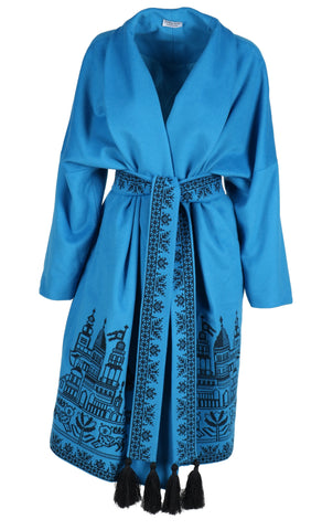 7ff7d741d30 Fanm Mon QUOISE Vyshyvanka Dark Aqua Wool Black Embroidered City Life Theme  Coat