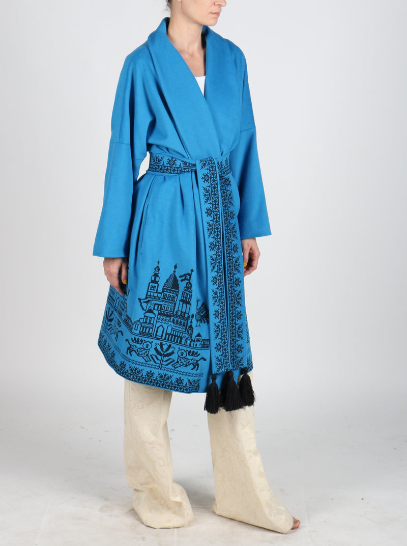 Fanm Mon QUOISE Vyshyvanka Dark Aqua Wool Black Embroidered City Life Theme Coat LOOSE FIT MEDIUM to XL