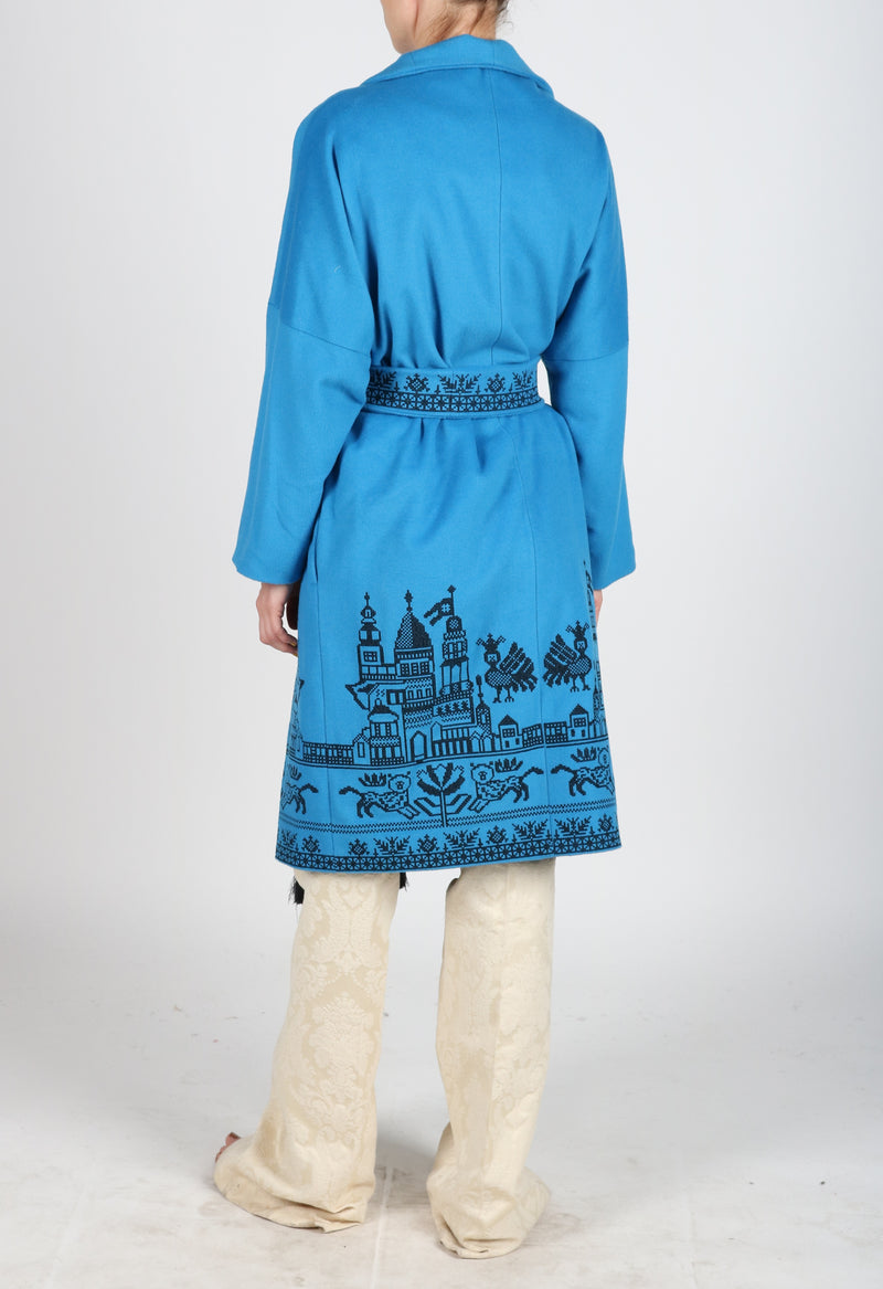 Fanm Mon QUOISE Vyshyvanka Dark Aqua Wool Black Embroidered City Life Theme Coat