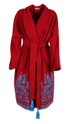 13aa87b7eb3 Fanm Mon DIVIN Vyshyvanka Red Wool Blue Embroidered City Life Theme Coat
