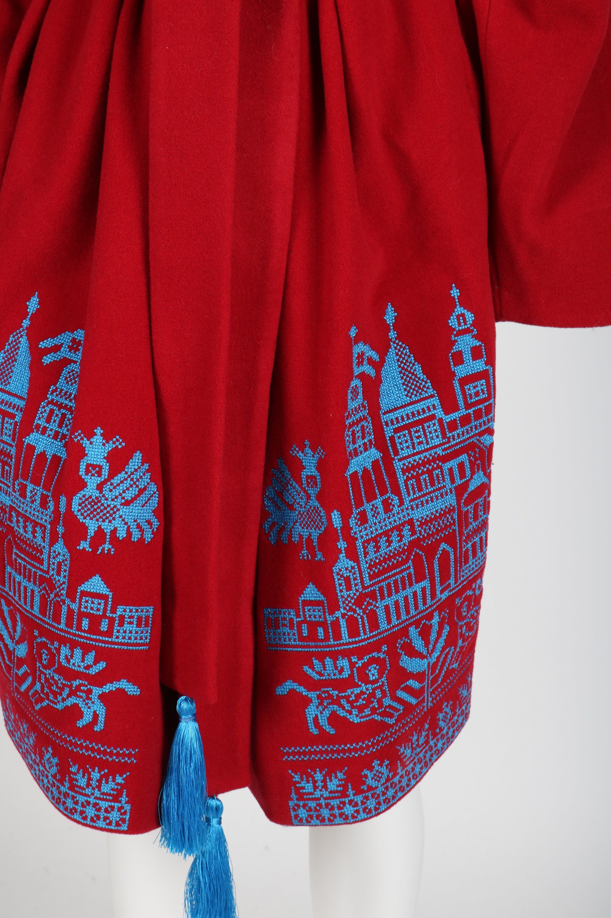 Fanm Mon DIVIN Vyshyvanka Red Wool Blue Embroidered City Life Theme Coat