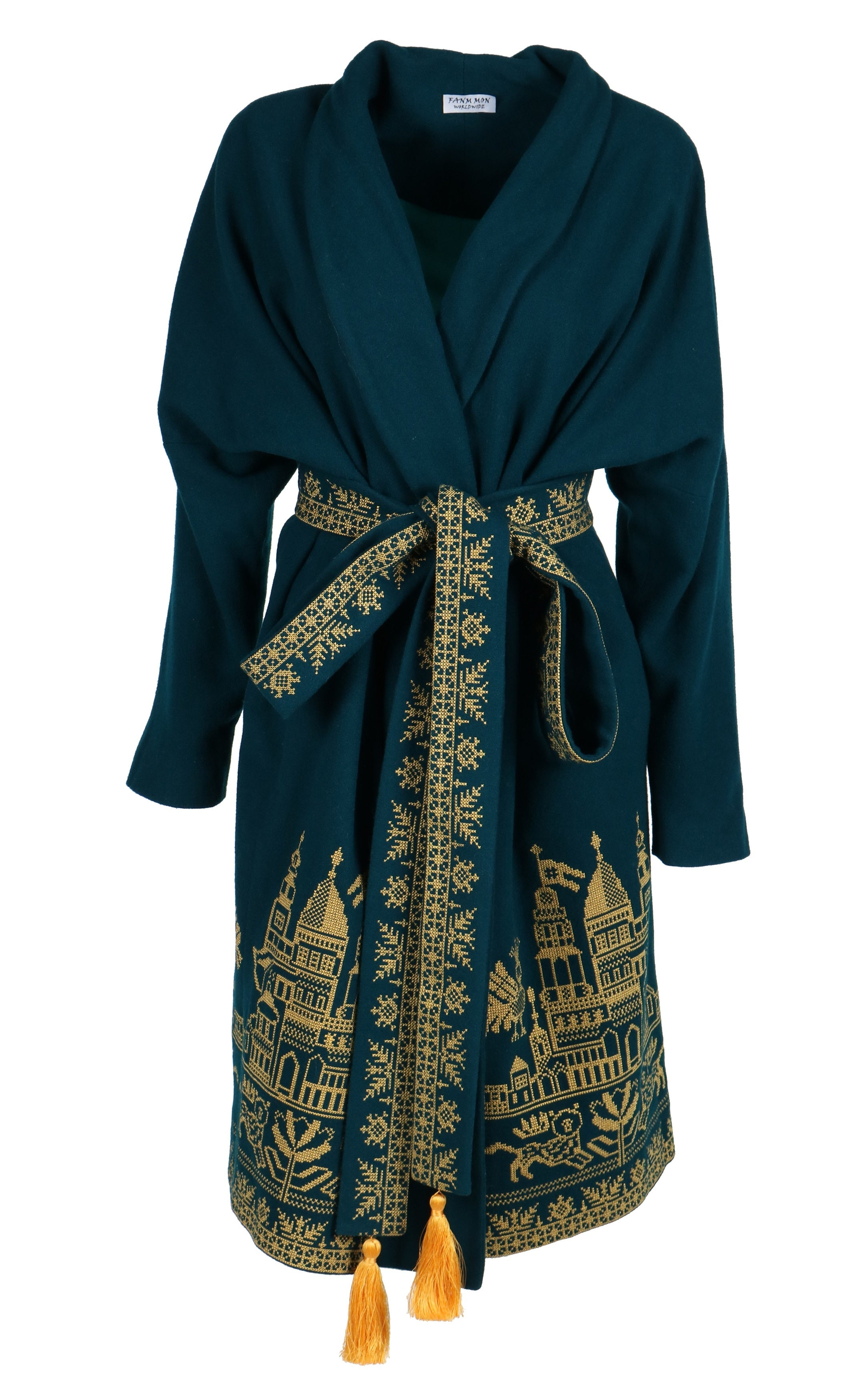 Fanm Mon TAELA Vyshyvanka DARK AQUA Wool GOLDEN Embroidered City Life Theme Coat