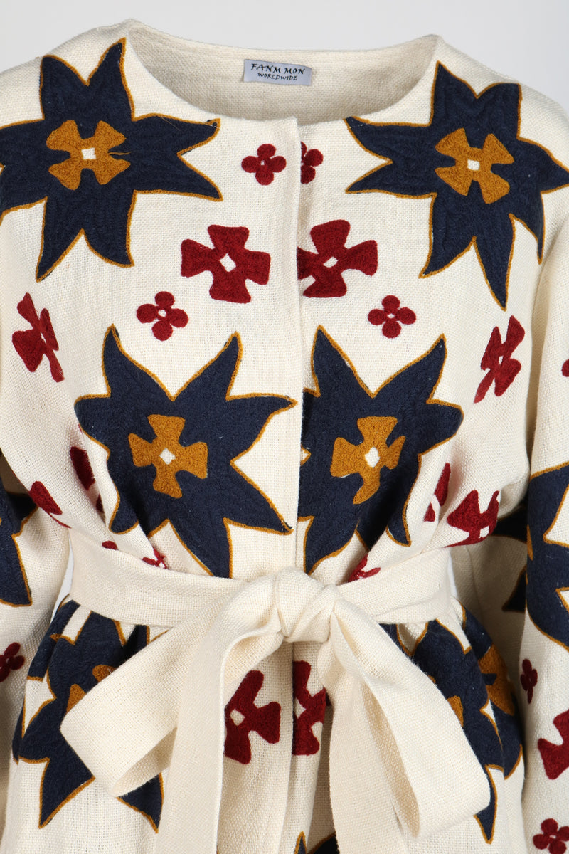 Fanm Mon Vyshyvanka Cream Linen Jacket ARI Embroidered MULTI COLOR Geometric Jacket