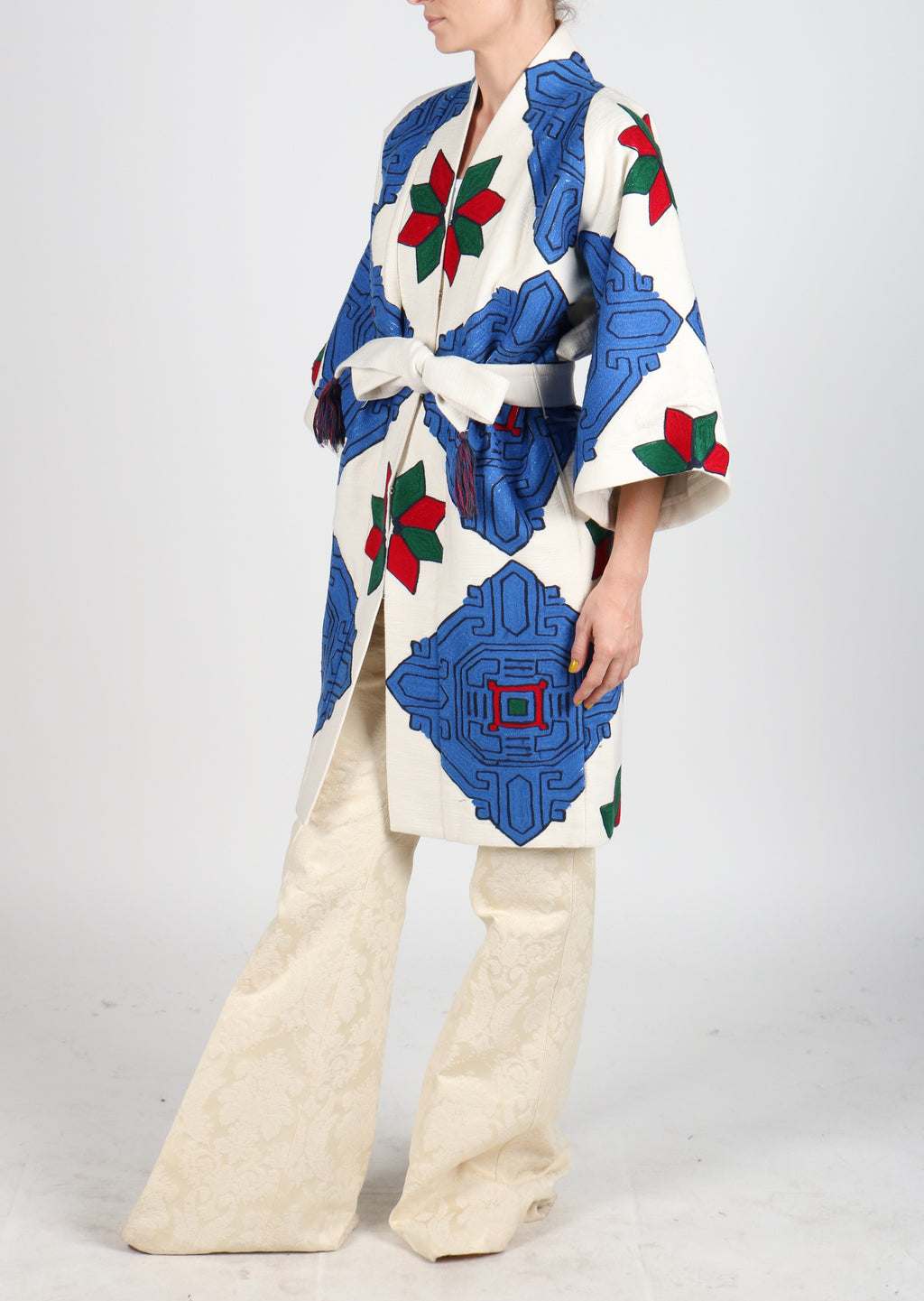 Fanm Mon Vyshyvanka Cream Cotton Jacket ARI Embroidered MULTI COLOR Geometric Jacket