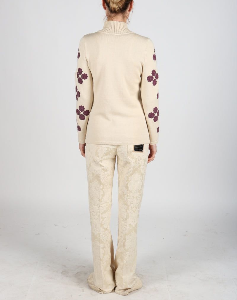 Fanm Mon Cream Wool Sweater with Purple Embroidery