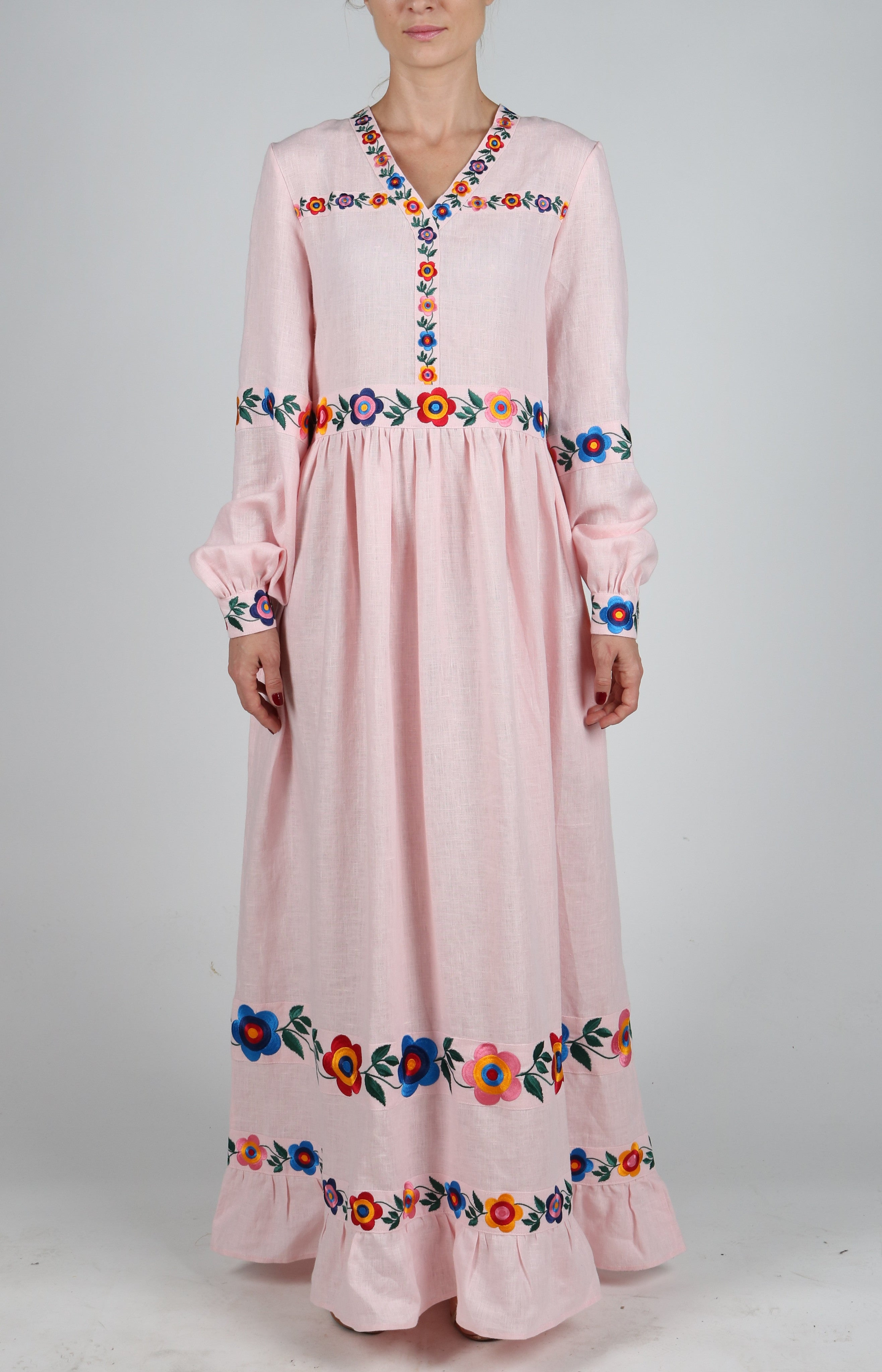 Fanm Mon BOHEME Vyshyvanka Maxi Dress Embroidered Pink Linen Multi Color Floral Embroidered Dress