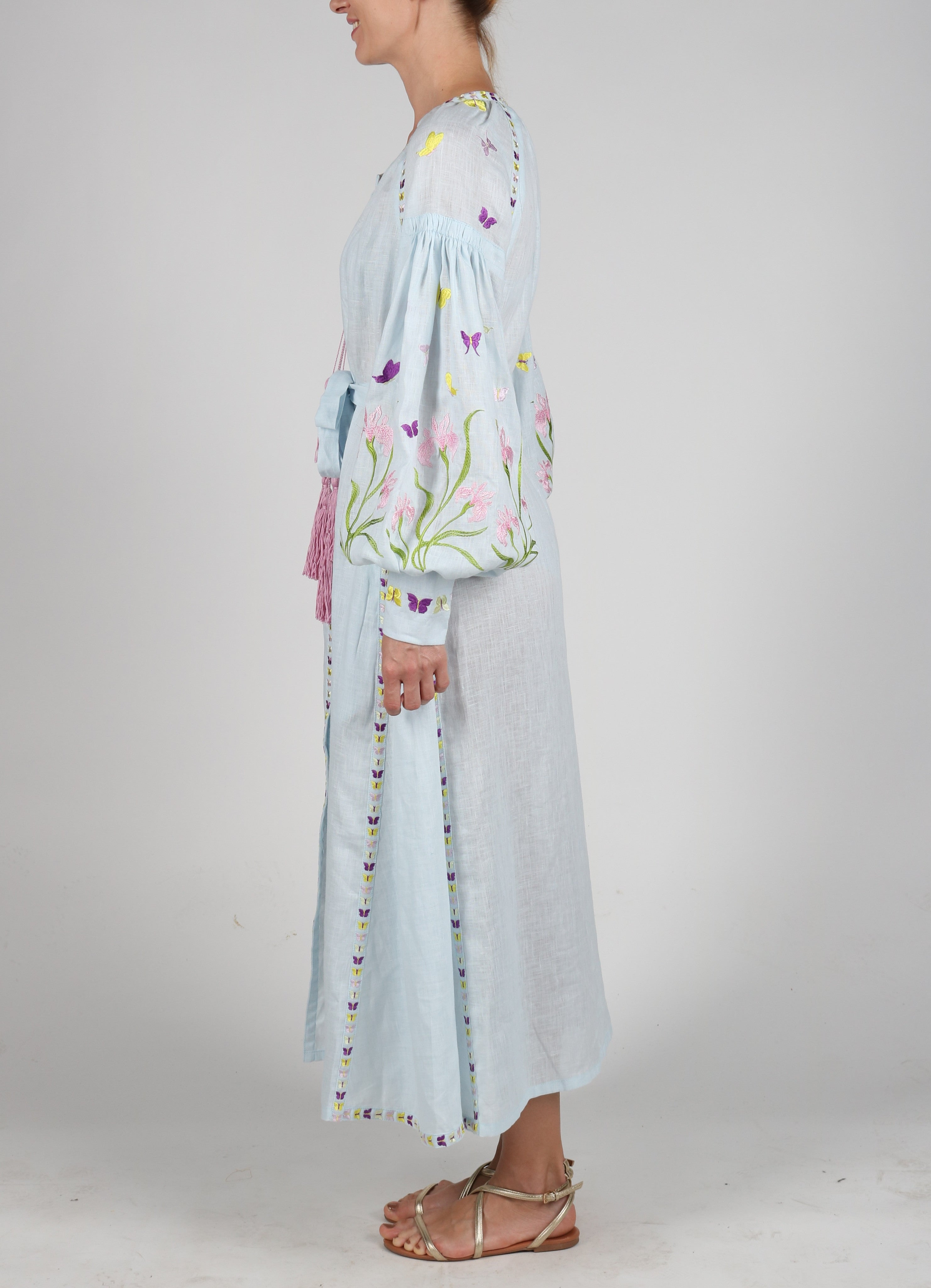 Fanm Mon Light Blue Linen Multi Color Floral Butterfly Embroidery Vyshyvanka MIDI Dress size XS-XXL MD012A4