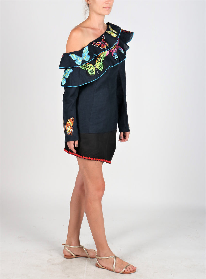 Fanm Mon MONARK One Shoulder Navy Linen Exotic Tropical butterfly Embroidery Vyshyvanka Blouse