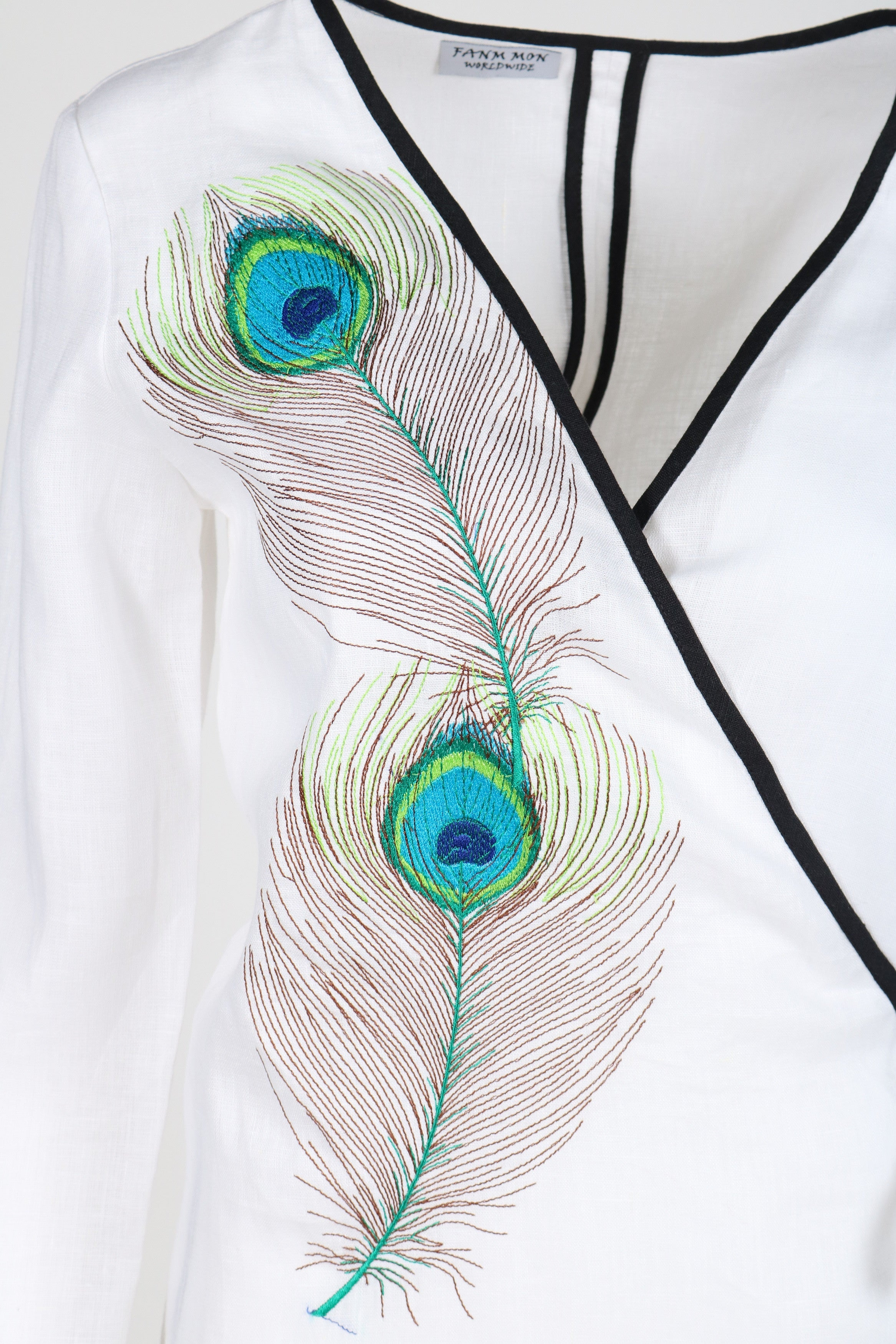 Fanm Mon AKOTE White Linen Peacock Feathers Embroidery Vyshyvanka MINI Dress size XS-XXL