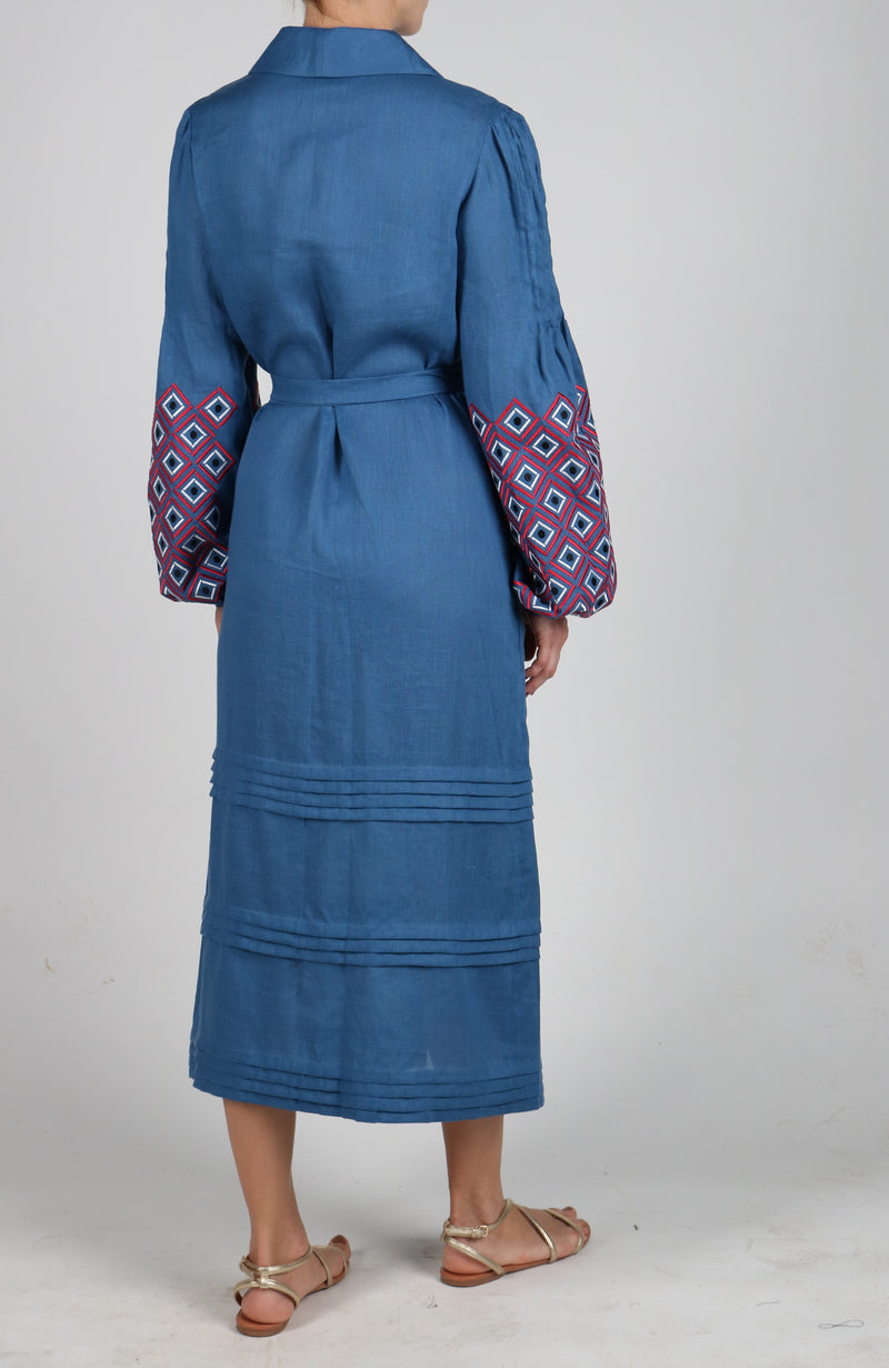 608fb8d66d44 Fanm Mon Denim Blue Linen Red White Black Embroidery Vyshyvanka MIDI Dress  size XS-XXL