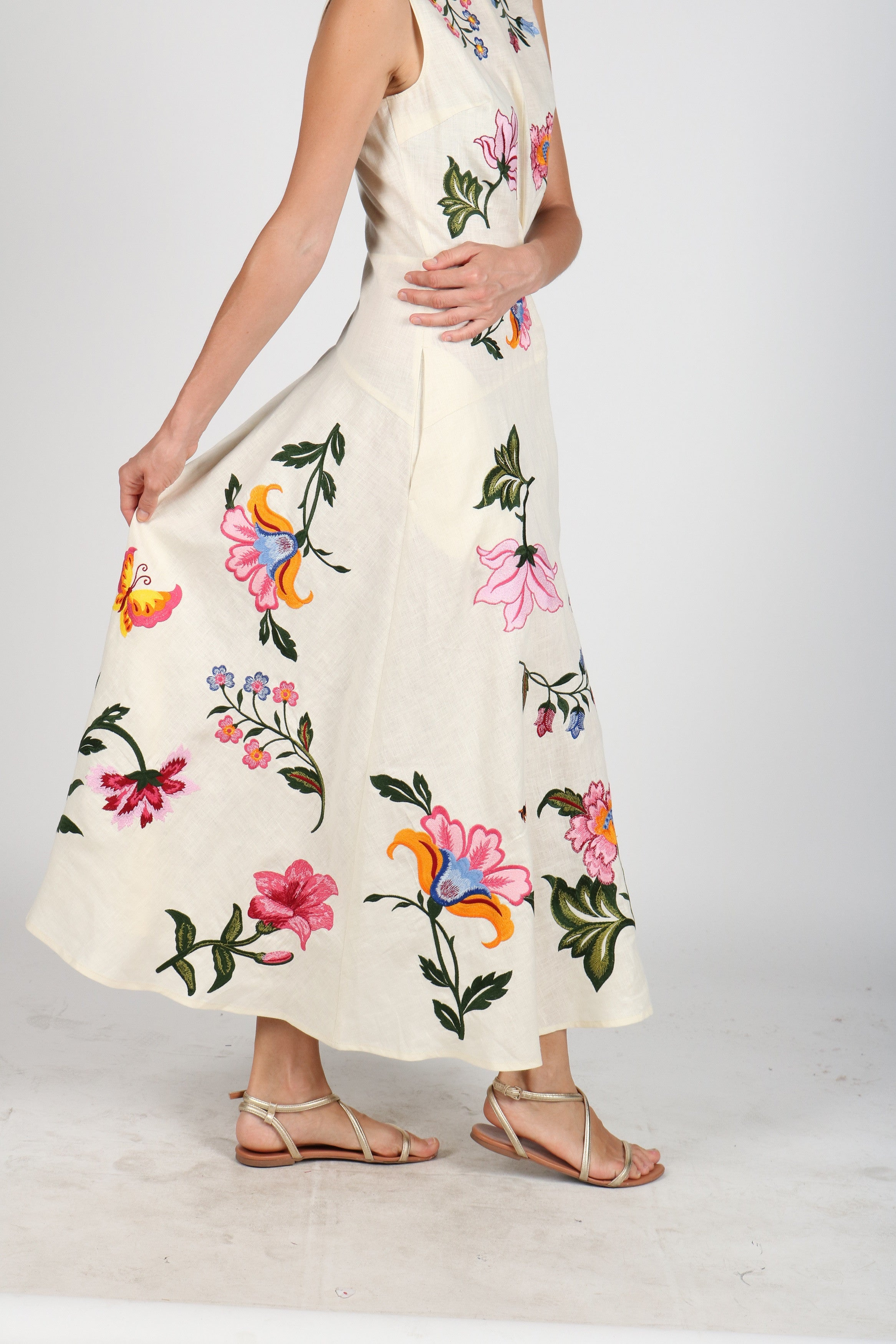 Fanm Mon DAHLIA Cream Linen Exotic Tropical Floral Embroidery Vyshyvanka MIDI Dress size XS-XXL