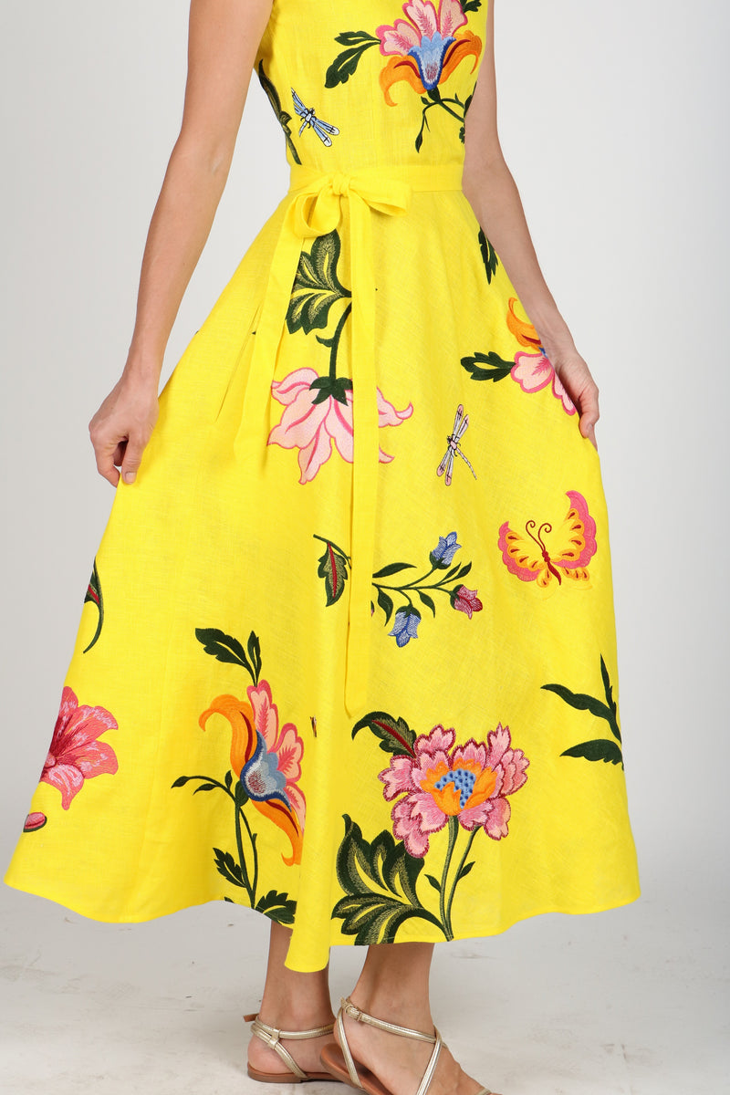 Fanm Mon GLORIOSA Bright Yellow Linen Exotic Tropical Floral Embroidery Vyshyvanka MIDI Dress