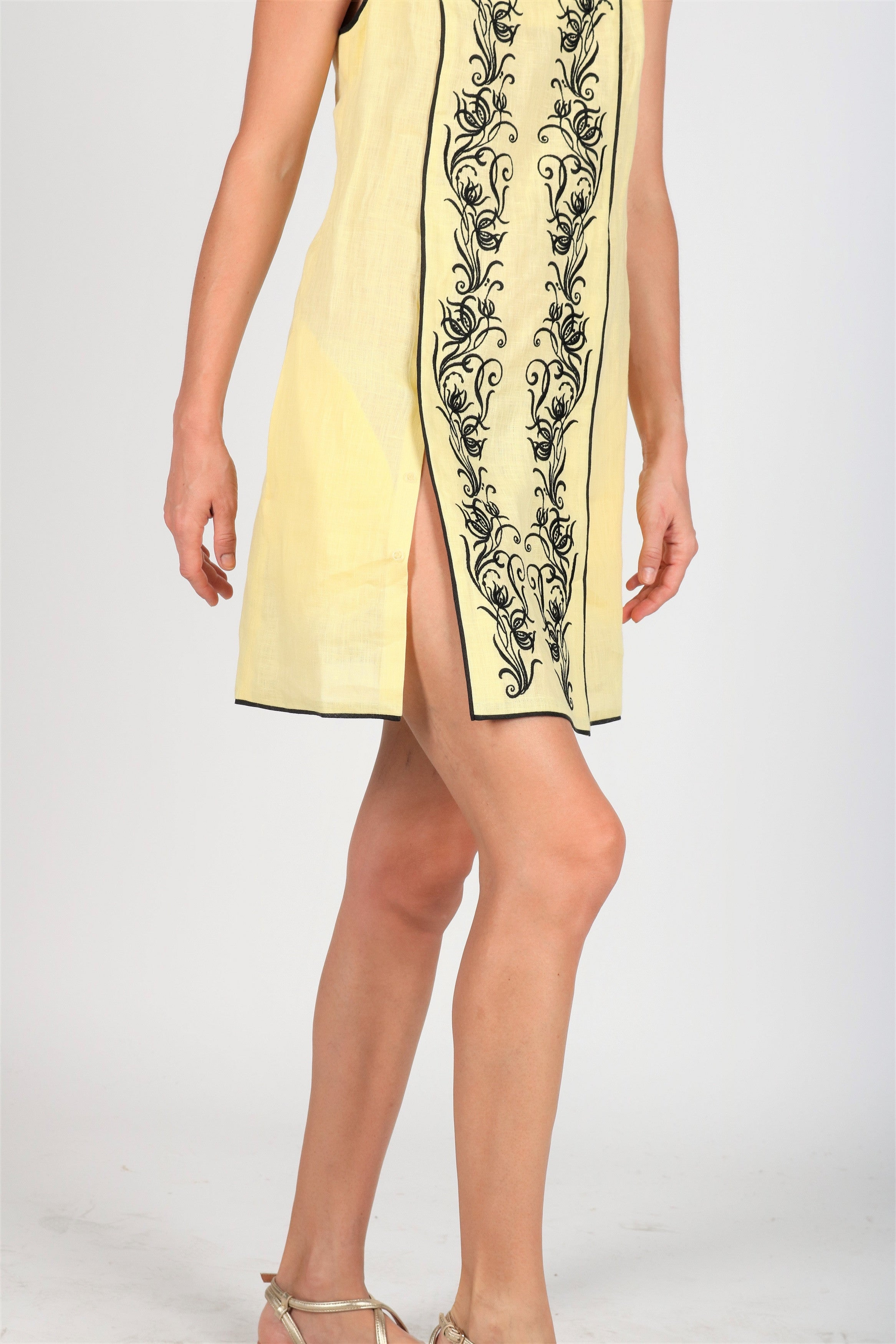 Fanm Mon BANDA Pale Yellow Black Floral Embroidery Vyshyvanka MINI Dress size XS-XXL
