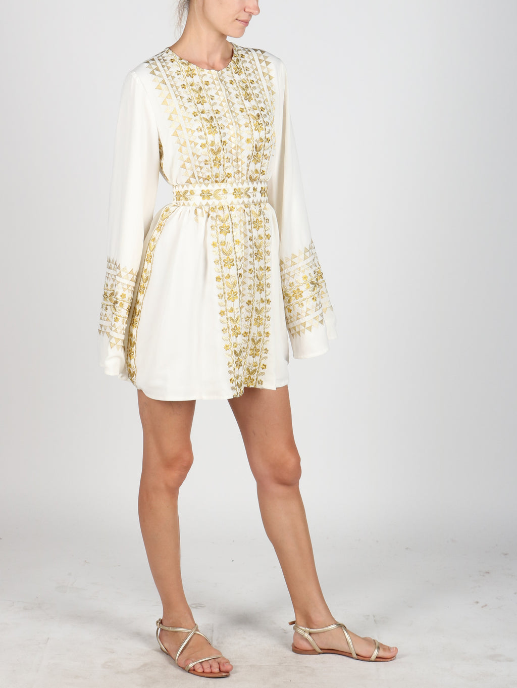 Fanm Mon White Silk Moroccan Style  Embroidery MINI Dress SIZE MEDIUM MNGD01054