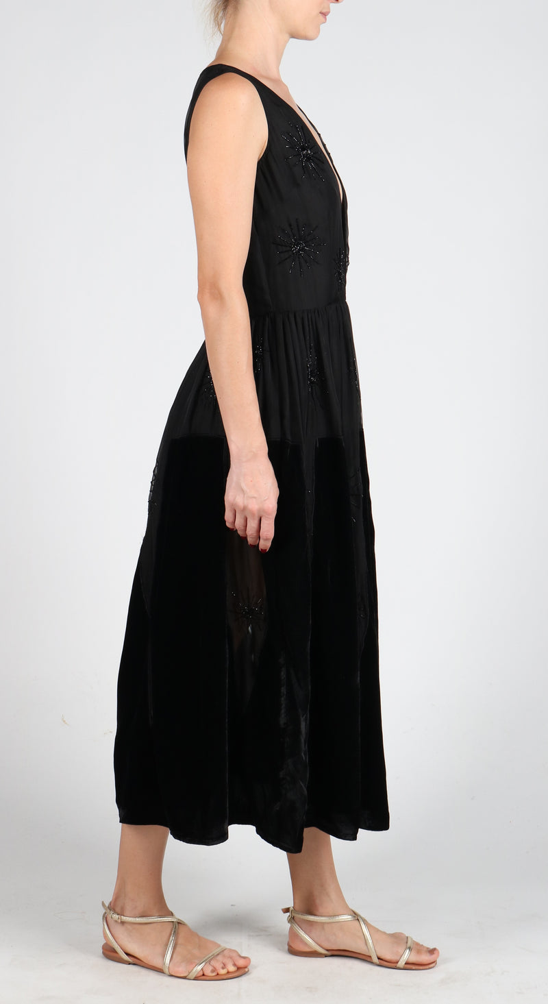 Fanm Mon STARS Black Velvet Hand Beaded Sequin Sleeveless Embroidery MIDI Dress