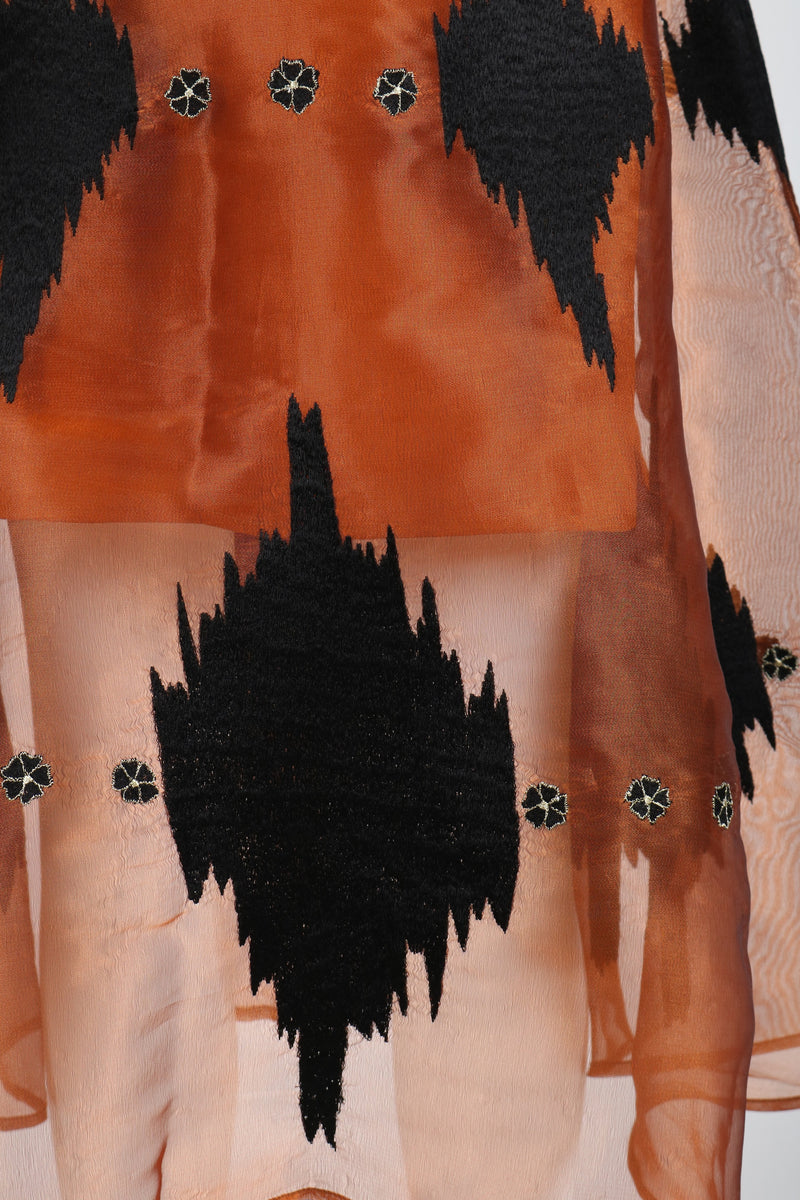 Fanm Mon SAJIN Polyester Organza Copper Linen Black Geometric Embroidered MIDI Dress Vyshyvanka