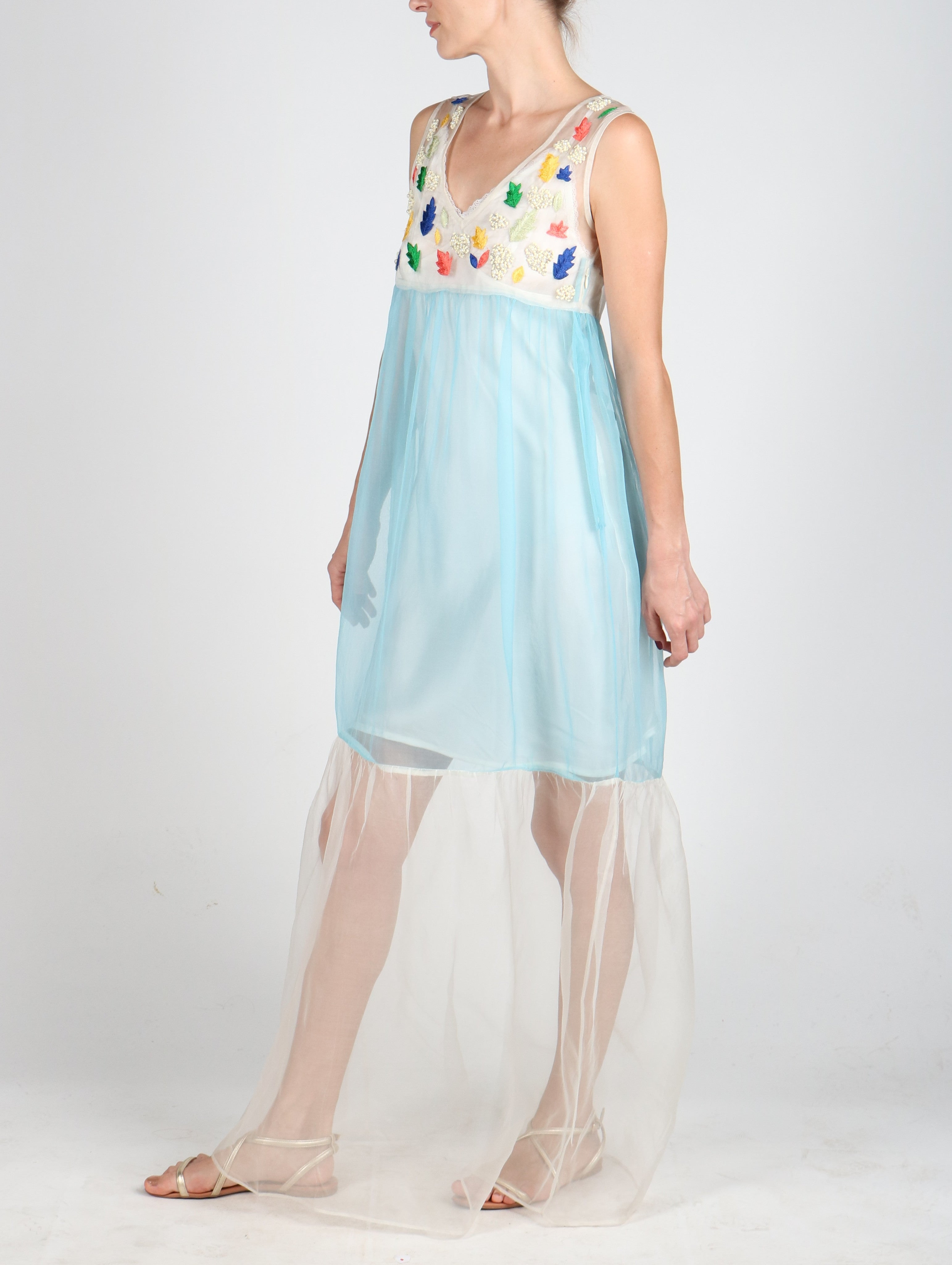 Fanm Mon LAILA Blue Hand Embroidered Hand Beaded Silk Vyshyvanka Dress Transparent MAXI Dress