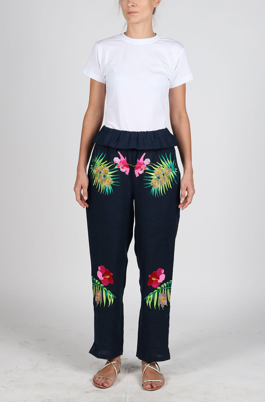 Fanm Mon OMERA Black Linen Pants Floral Leaves Embroidery Vyshyvanka
