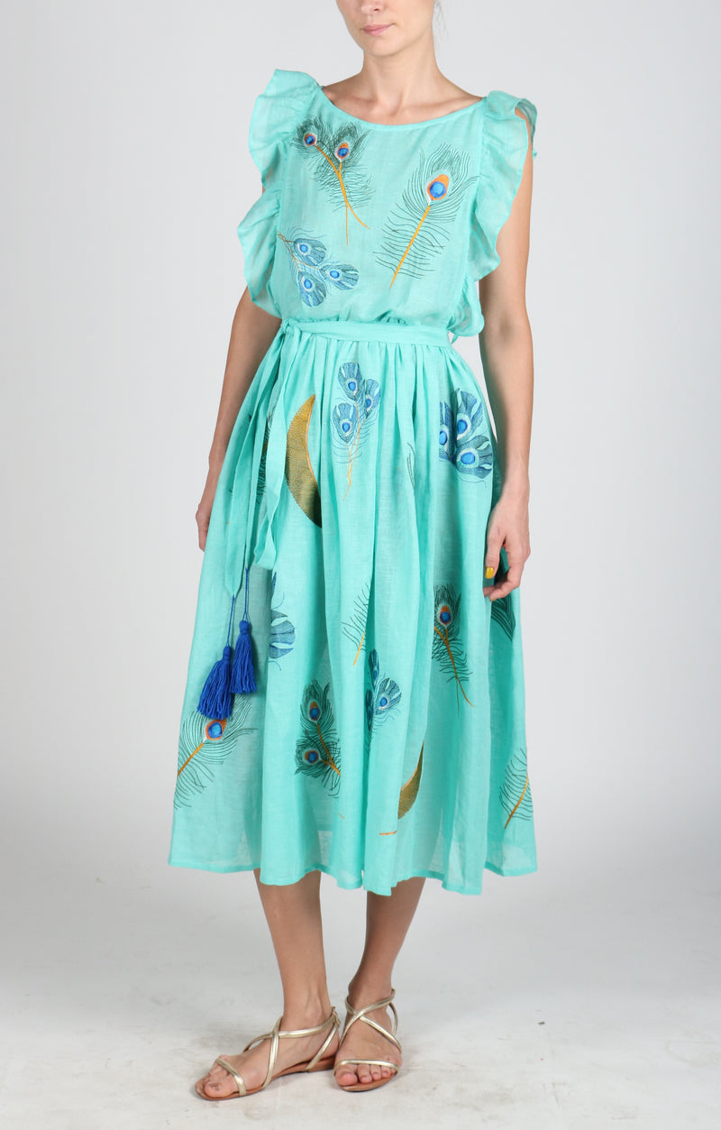 Fanm Mon VERVINE Aqua Loomed Linen Peacock Feathers Embroidery Vyshyvanka MIDI Dress size XS-XXL