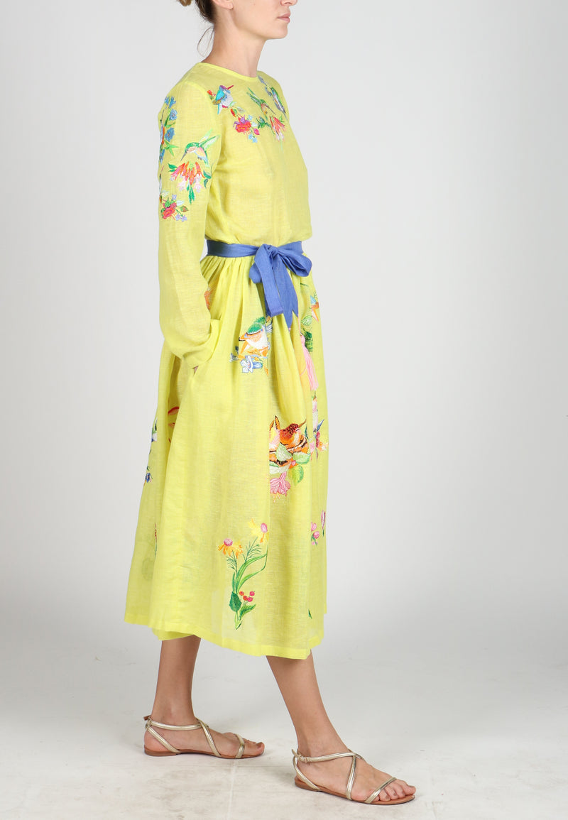 Fanm Mon VANDI Yellow Loomed Linen Humming Birds Floral Embroidery Vyshyvanka MIDI Dress size XS-XXL