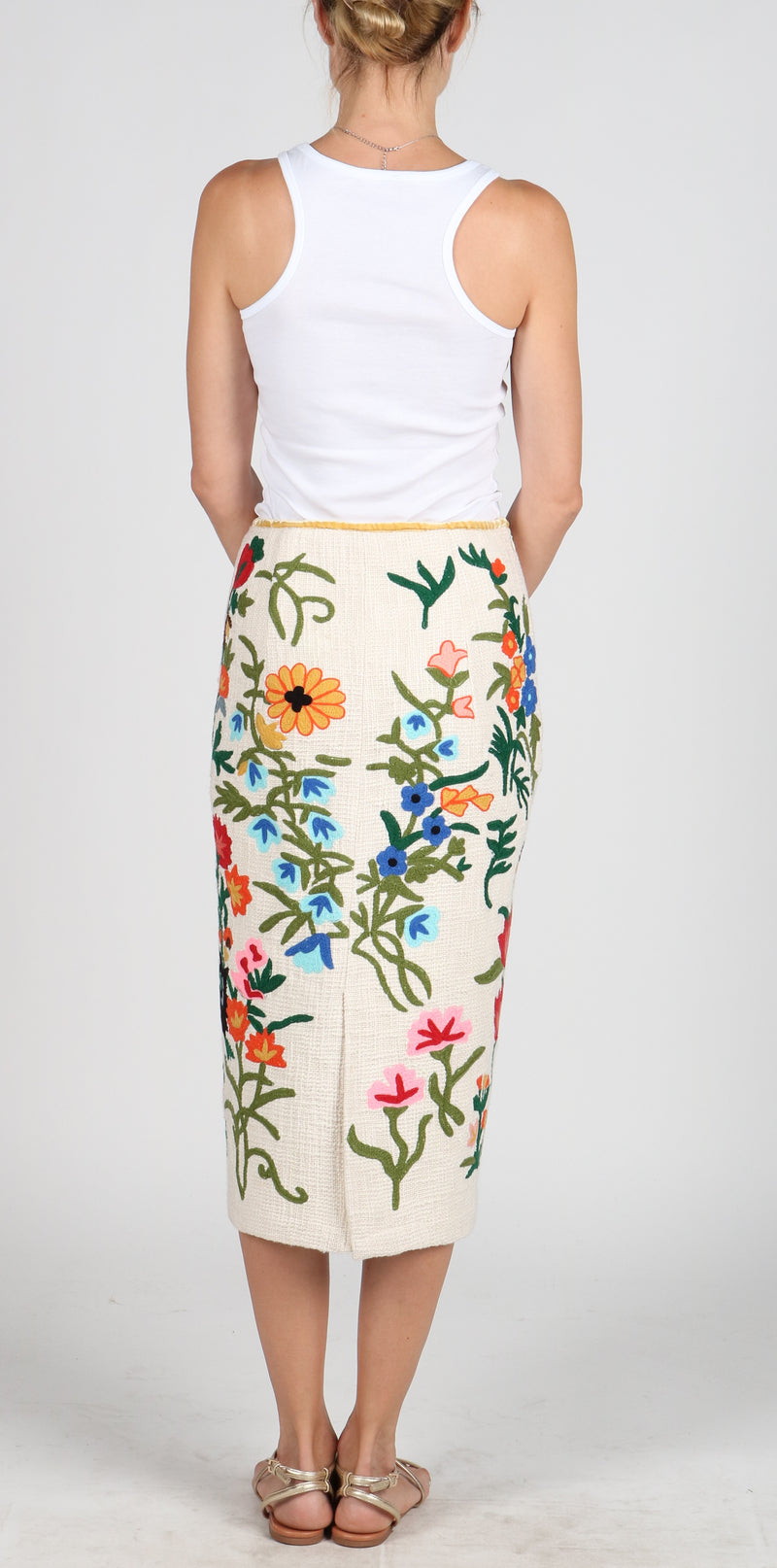 Fanm Mon BLOOM Hand Loom Cotton Multi Color Floral Embroidered Long Skirt