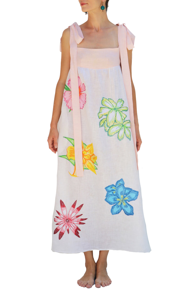 Fanm Mon White Pink Linen Floral Embroidered MIDI Dress 2nd Payment
