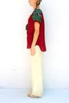 Fanm Mon Burgundy Linen Blouse with Green Embroidery SIZE LARGE
